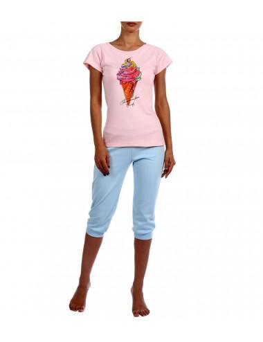 "Комплект футболка и бриджи ""Мороженое"" (роз/гол)"