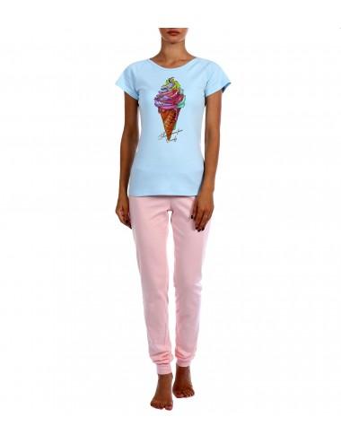 "Комплект футболка и брюки ""Мороженое"" (гол/роз)"